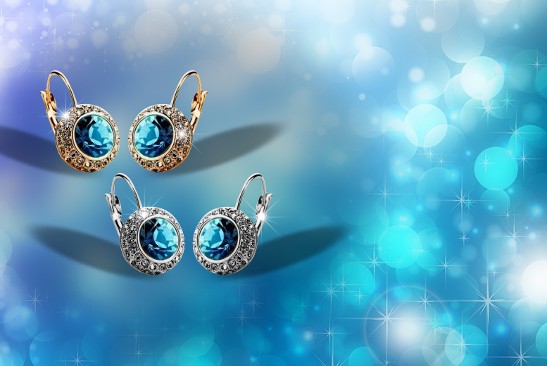 £7 instead of £48 (from Evoked Design) for a pair of white gold or yellow gold plated, bright blue crystal royal charm earrings, made with Swarovski Elements - save 85%