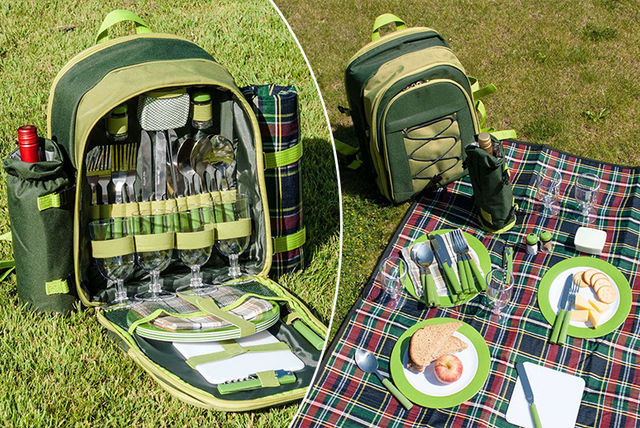 27pc 4 person picnic backpack