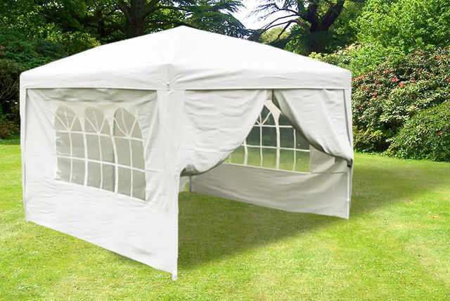 Heavy Duty 3mx3m Gazebo With Wind Bars Weight Bags Carry Case