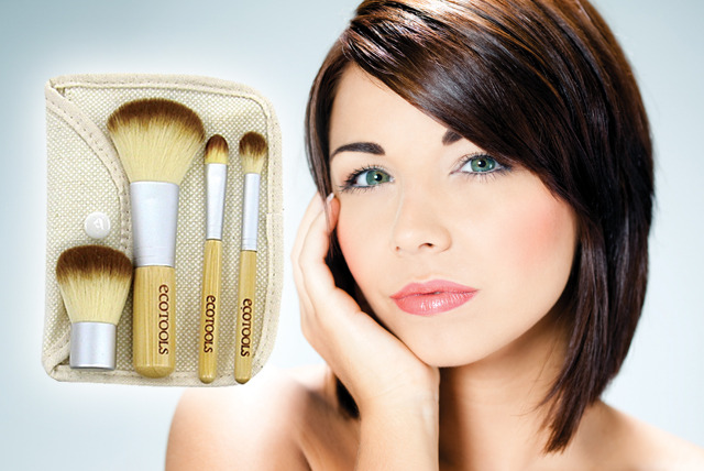 £5.95 instead of £19.99 (from Eggsnog) for a 4-piece organic makeup brush set & carrying pouch – save 70%