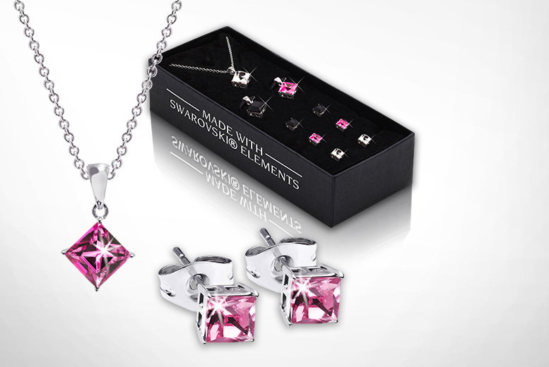 £10 instead of £99 (from The Gemseller) for a six-piece jewellery set featuring three crystal necklaces and three matching stud earrings - save 90%