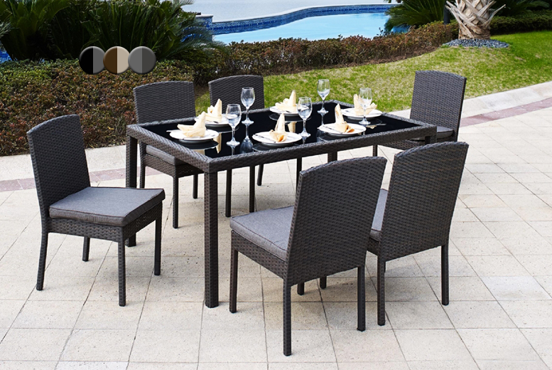 £250 instead of £599.99 for a seven-piece outdoor rattan dining table and chairs set from Wowcher Direct - choose from three colours and save 58%