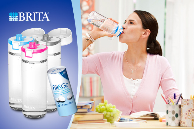 £11.99 instead of £19.99 for a BRITA 'Fill and Go' Water Filter Bottle with 4 cartridges or £19.99 for 12 - save up to 40% + delivery is included