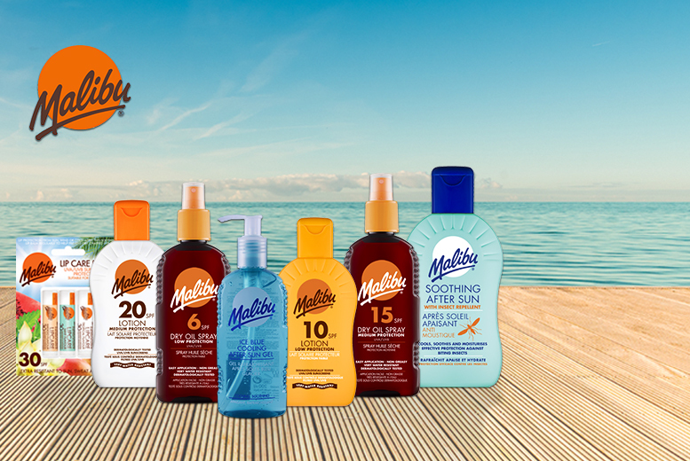 £15 instead of £29.93 for a seven-piece Malibu sun protection kit with Wowcher Direct - save 50%
