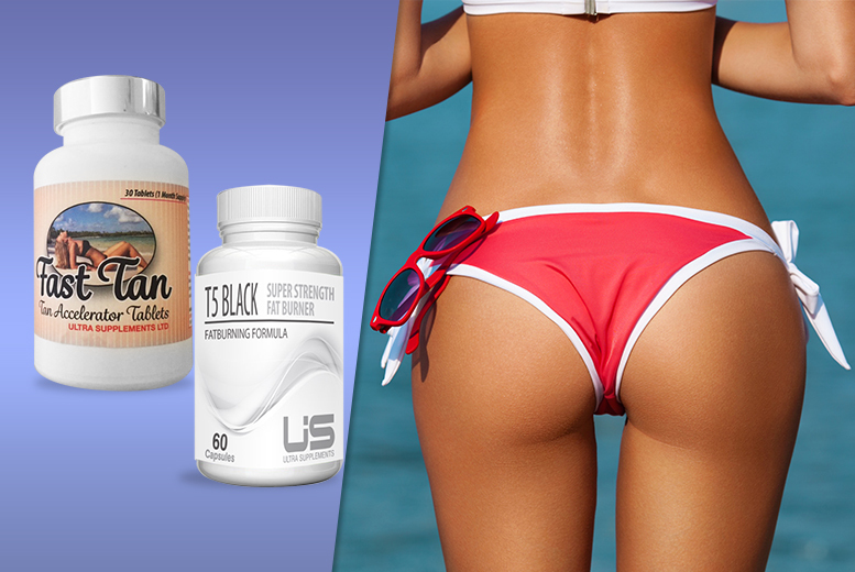 £12 instead of £64.99 for a one-month* supply of 'Fast Tan' and T5 'Fat Burner' capsules - save up to 82% + DELIVERY INCLUDED!