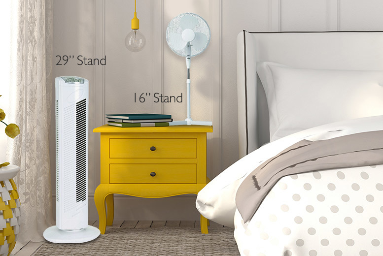 "£17.99 instead of £49.99 for a 3 speed 16"" oscillating standing fan or £24 for a 3 speed 29"" oscillating tower fan - save up to 64%"