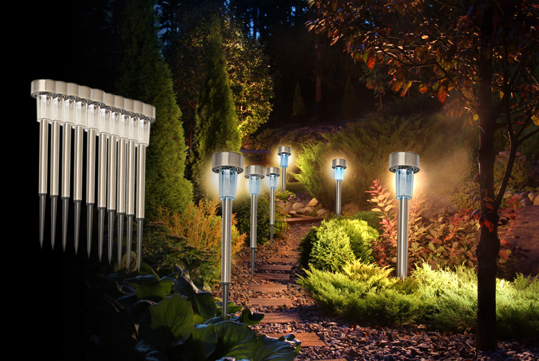 £7.99 (from Zoozio) for 10 stainless steel solar post white lights, £14.99 for 20 white lights, £9.99 for 10 coloured lights, £16 for 20 coloured lights - save up to 82%