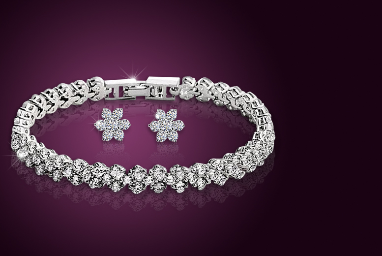 £9 instead of £65 (from Elle and Be) for a tennis bracelet made with Swarovski Elements and matching flower stud earrings - save 86%