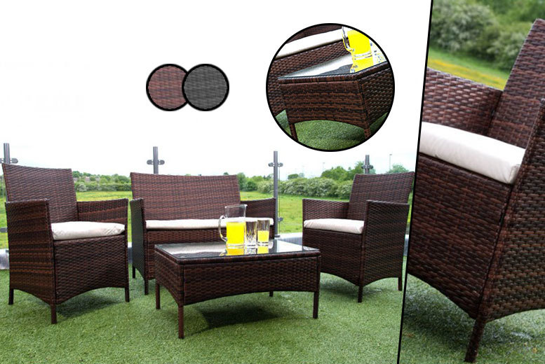 Wowcher deal 139 instead of 699 for a four piece for Garden furniture deals