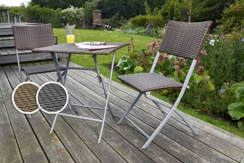 3pc folding rattan bistro furniture set 2 colours for Garden furniture deals