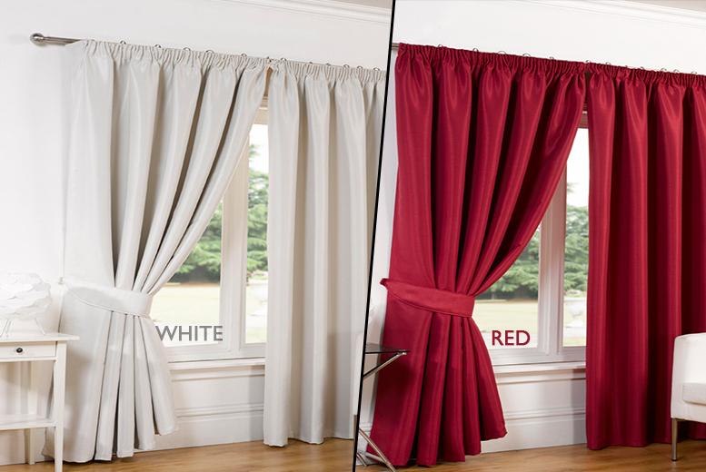 Faux Silk Blackout Curtains - 8 Colours. - National Deal