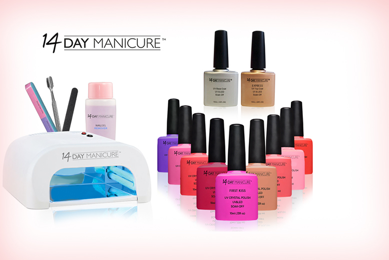 £54 (from 14 Day Manicure) for a 12-piece luxury home gel manicure starter kit including 4 polishes, £64 to include 6 polishes or £74 to include 8