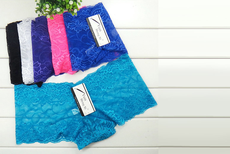 £6 instead of £39.99 (from Fizzy Peach) for a pack of six lace hipster knickers in black, white, purple, pink, sky blue and deep blue - save 85%