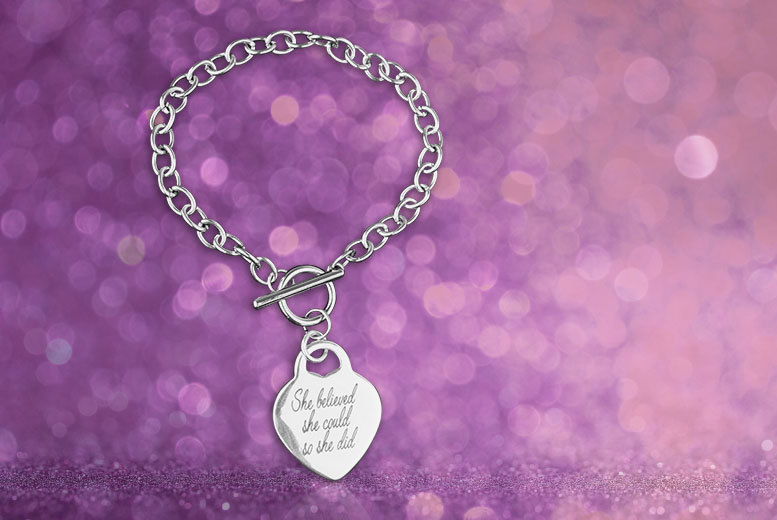 £6 instead of £49.99 (from Marcus Emporium) for a 'She Believed She Could So She Did' T-bar charm bracelet - save up to 88%