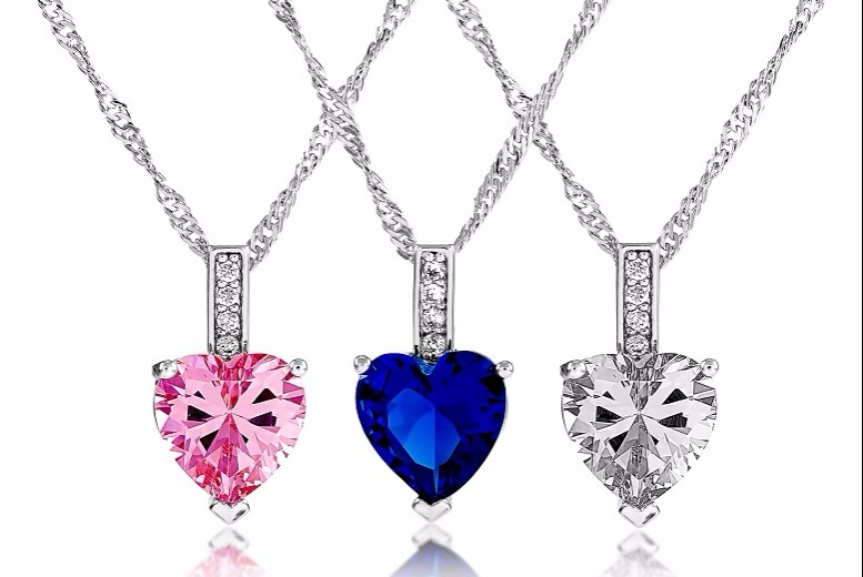 £14 instead of £99.99 for a heart simulated sapphire pendant necklace in clear blue or pink from GameChanger Associates  save 86