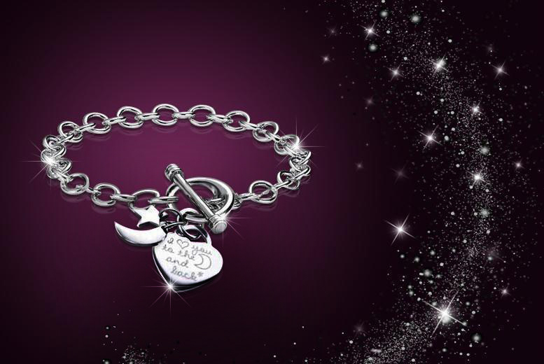 £8 instead of £89.99 (from My Boutique Store) for a rhodium-plated  'I love you to the moon and back' bracelet - save 91%
