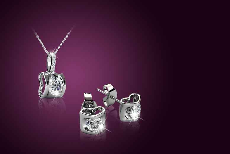 £9 instead of £200 (from My Boutique Store) for an 18k white gold-plated duo set made with Swarovski Elements - save 96%