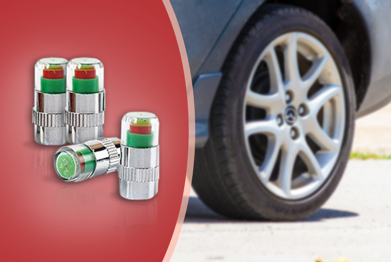 £3.99 instead of £14.99 (from Top Notch Fashion) for a set of four tyre valve pressure-check caps, £6.99 for eight - keep your tyres in check and save up to 73%