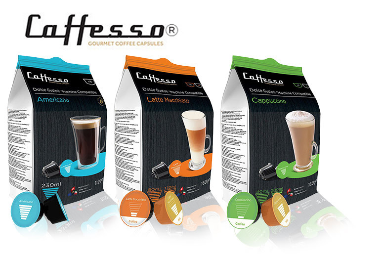 £4.99 instead of £17.99 (from UK Business Supplies) for 16 Caffesso coffee pods £8.99 for 32 £15.99 for 64 £28.99 for 128 or £52.99 for 256  save up to 72