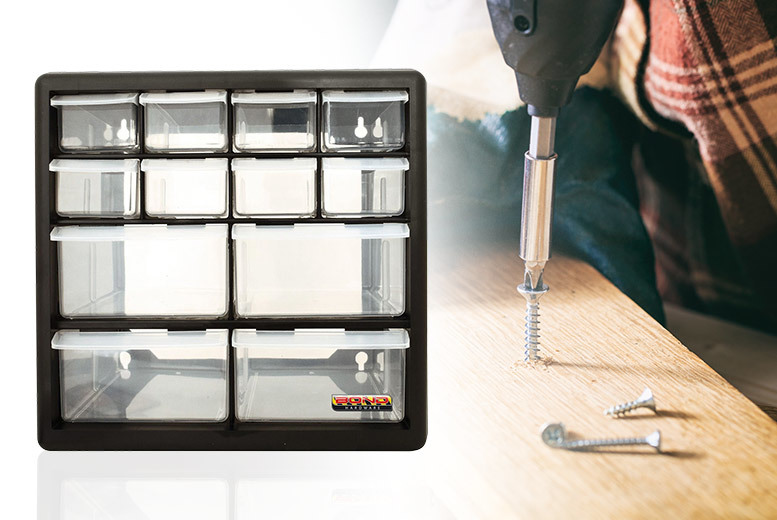 £9 instead of £21 (from Zoozio) for a 12 drawer 'Bond' hardware and multitool storage unit or £ 24.99 for 36 drawers  store and save up to 57