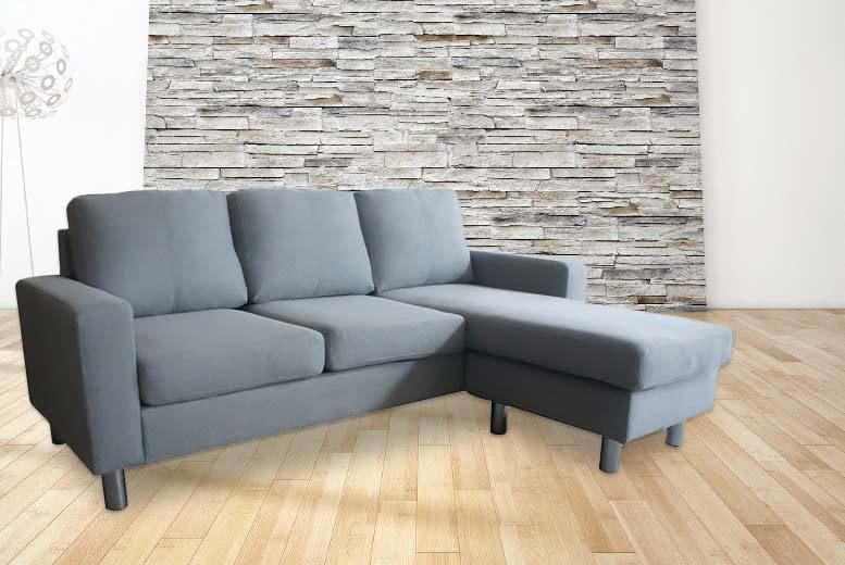 Fabric L-Shaped 3-Seater Corner Sofa for £249