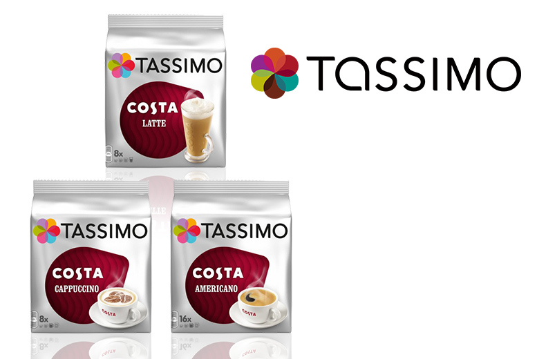 £14.99 instead of £34.99 (from Euro Coffee Pods) for a variety pack of 48 Tassimo Costa coffee discs  get lattes cappuccinos and Americanos and save 57