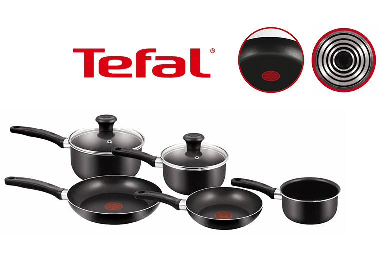£32 instead of £94 (from Elite Housewares) for a fivepiece Tefal nonstick cookware set  cook up a storm and save 66