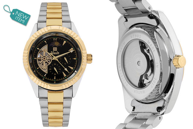 Vault Mens Two-Tone Skeleton Watch