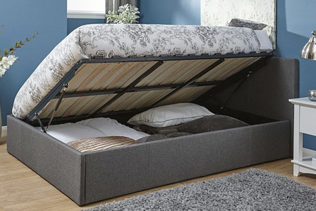 Fabric Side Lift Ottoman Storage Bed with Mattress Options