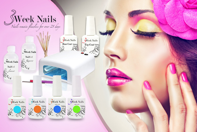 £49 (from 3 Week Nails) for a 12-piece home gel manicure starter kit including four polishes, £59 to include six polishes or £64 to include eight - save up to 79%
