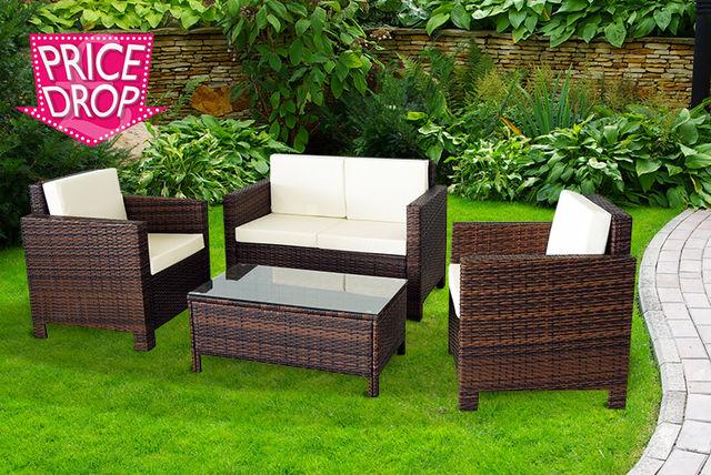 4pc rattan garden furniture set 4 colours