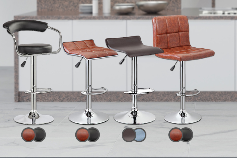 £39.99 instead of £115.01 for two bar stools in black or brown - choose from four designs and save 65%