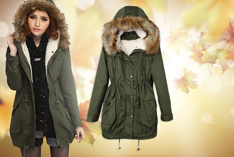 £22 instead of £89 (from Boni Caro) for a faux fur lined fishtail parka coat - choose from four sizes and save 75%