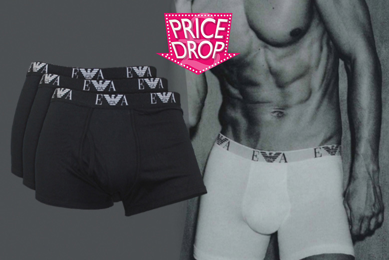 £22 instead of £40 for a three-pack of men's Emporio Armani boxers - choose from black or white and save 45%