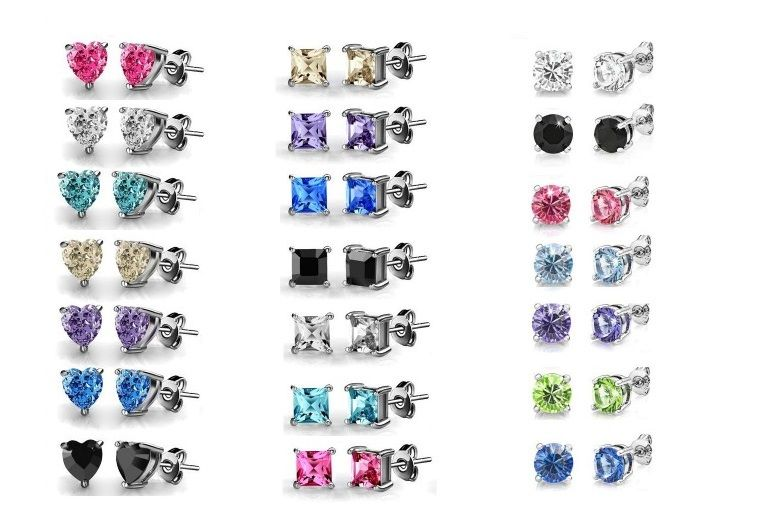 7 Pairs Of White Gold-Plated Zircon Earrings - 3 Styles!