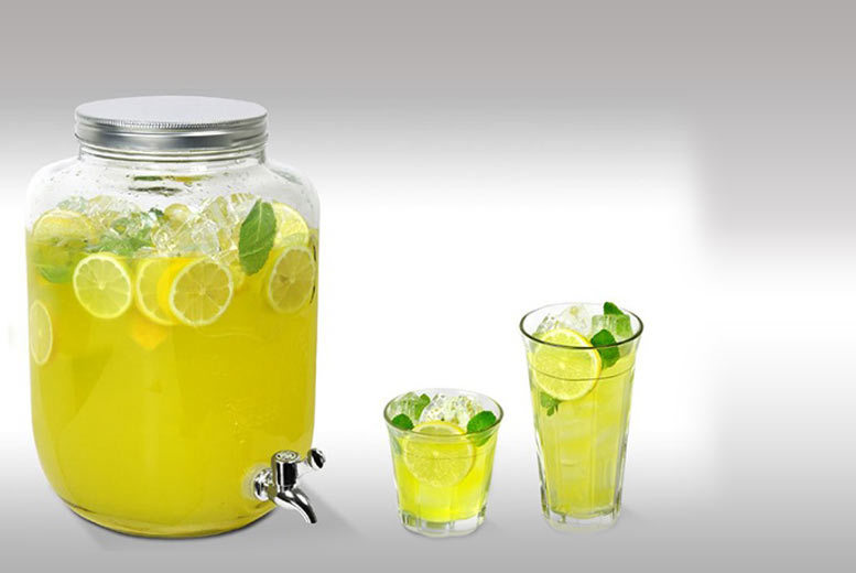 Image of £11.99 instead of £39.98 for an eight-litre jumbo glass jar with tap, £19.99 to include a set of four mason drinking glasses - save up to 70%