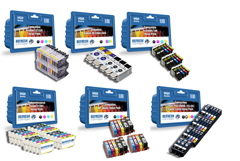 From £18 (from Refresh Cartridges) for a printer ink cartridge super saver value pack - compatible six brands including Canon, HP, Epson, Brother, Kodak and Lexmark and save up to 38%
