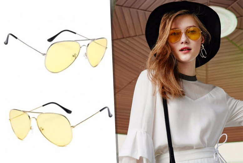 £6 instead of £23 (from Fakurma) for a pair of yellow aviators or £10 for two pairs  choose from silver or gold frames and save up to 74