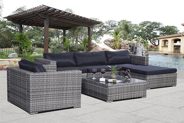 6pc rattan garden furniture sofa set
