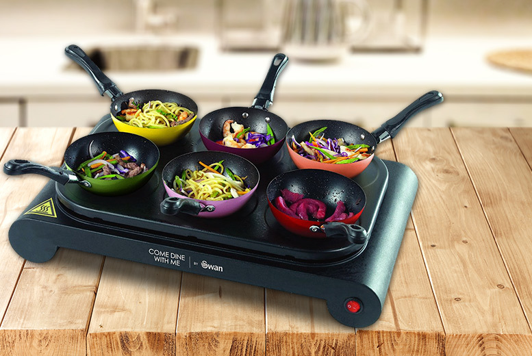 Image of £29.99 instead of £63.01 for a Swan party wok and pancake maker, including a 'Come Dine With Me' game and recipe book - save 52%
