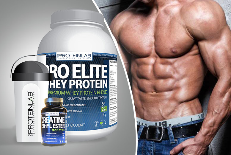 £34 instead of £104.97 for a 28-day* supply of Pro Elite Whey Protein in strawberry or chocolate flavour PLUS a 600ml shaker and 240 creatine supplements - save 68%