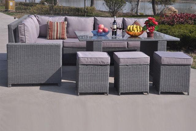 Seater Xl Grey Rattan Garden Dining Sofa Set