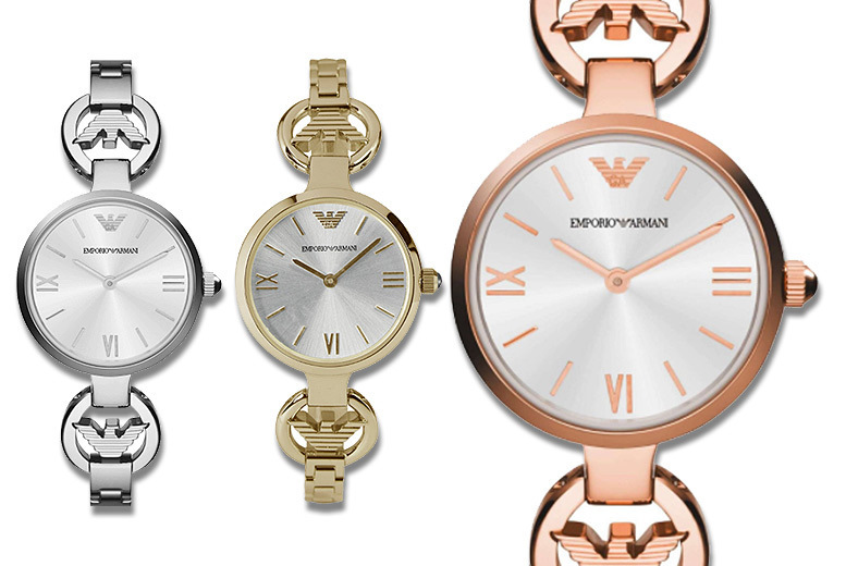 £139 instead of £379 (from Gray Kingdom) for a ladies' Emporio Armani slimstrap watch  choose gold rose gold or silver and save 63