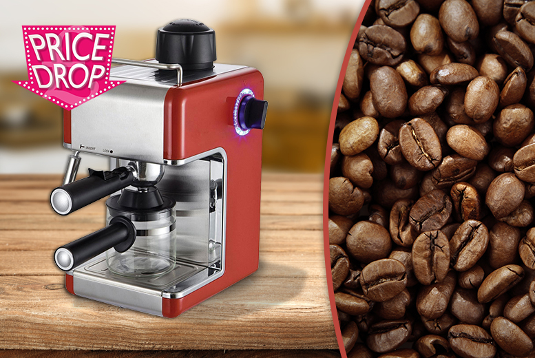 Image of £29.99 instead of £145 (from Zoozio) for a Sentik espresso coffee machine - choose red or black and save 79%
