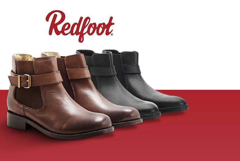£29.99 instead of £200 for a pair of ladies' buckle Chelsea boots  choose black brown tan or navy from Redfoot  save 85