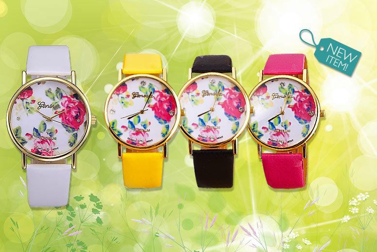 Ladies' Floral Geneva Platinum Faux Leather Watch - 4 Colours!