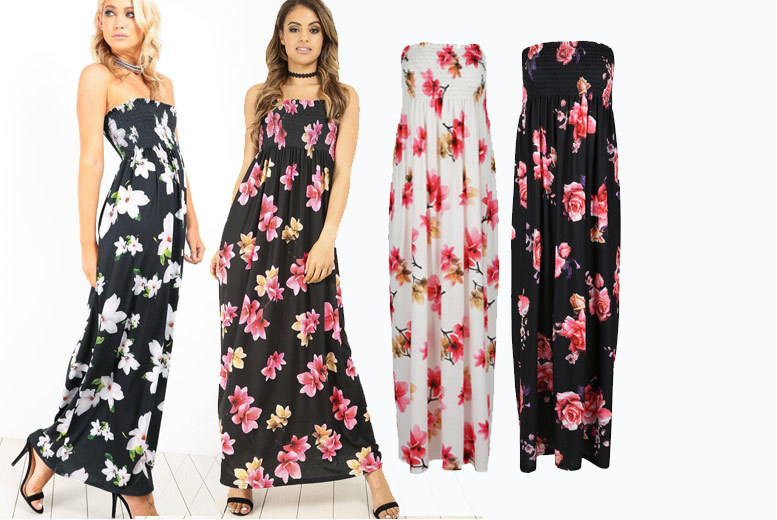 Strapless Bandeau Floral Maxi Dress - 4 Colours and Sizes 8-22