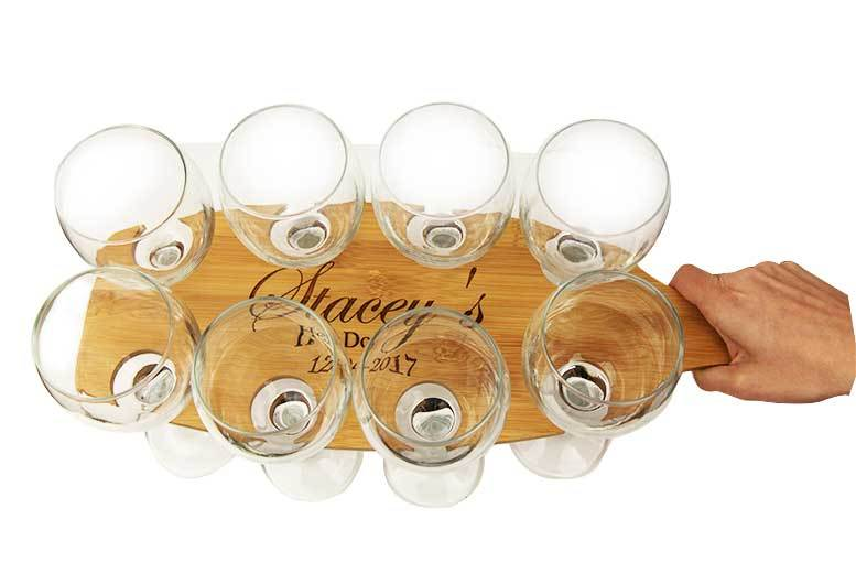 Personalised Event Paddle and Wine Glasses