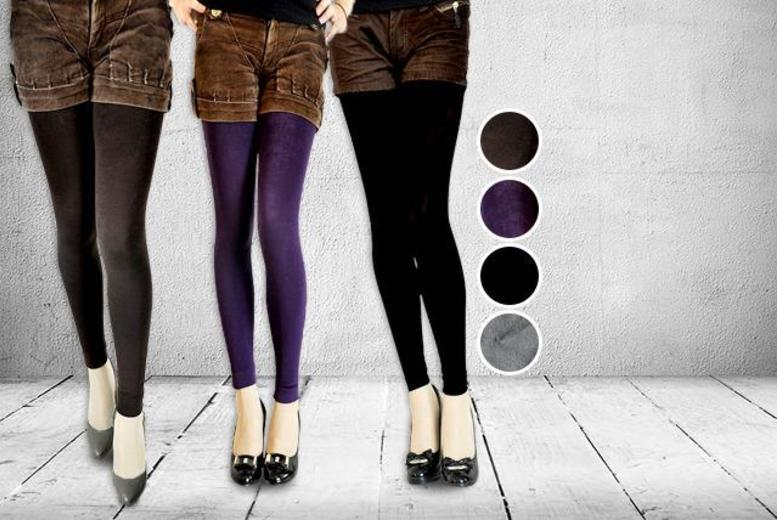 £6 instead of £49.99 (from Fizzy Peach) for two pairs of fleece-lined leggings - choose from four colours and save 88%