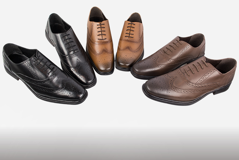 £29.95 instead of £120 for a pair of men's genuine leather brogues - choose from three colours in sizes 7-12 and save 75%